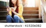 woman listening music media... | Shutterstock . vector #415206082