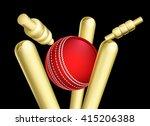 a cricket ball breaking wicket... | Shutterstock .eps vector #415206388