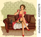 concept of retro woman chatting ... | Shutterstock .eps vector #415208278