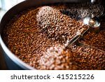 the freshly roasted coffee... | Shutterstock . vector #415215226
