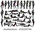 big set of many black vector... | Shutterstock .eps vector #415220746