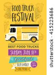 Food truck festival menu food brochure, street food template design. Vintage creative party invitation with hand-drawn graphic. Vector food menu flyer. Hipster menu board. | Shutterstock vector #415223686