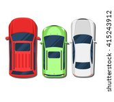 cars top view. suv  hatchback ... | Shutterstock .eps vector #415243912