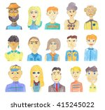 set of watercolor faces... | Shutterstock . vector #415245022
