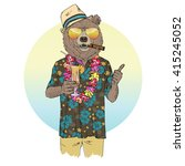 Brown Bear Dressed Up In Aloha...