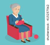 old woman knits. vector... | Shutterstock .eps vector #415257562