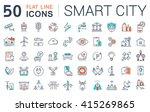 set vector line icons in flat... | Shutterstock .eps vector #415269865