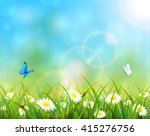 sunny summer day and blue sky... | Shutterstock .eps vector #415276756