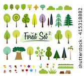 vector color trees set. part 2. ... | Shutterstock .eps vector #415318882