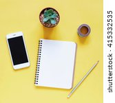 creative workspace desk with... | Shutterstock . vector #415332535