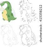 cartoon dragon with a sick... | Shutterstock .eps vector #415358212