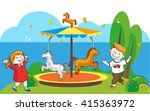 Happy Kids On The Carousel Wit...