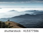trekkers standing on the hill ... | Shutterstock . vector #415377586