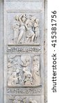 Small photo of BOLOGNA, ITALY - JUNE 04: Escape of Loth by Niccolo Tribolo up and Birth of Esau and Jacob by Alfonso Lombardi down, left door of San Petronio Basilica in Bologna, Italy, on June 04, 2015