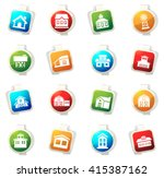 farm building stickers label... | Shutterstock .eps vector #415387162