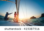 couple sailing in the tropical... | Shutterstock . vector #415387516