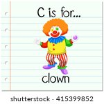 flashcard letter c is for clown ...