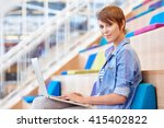 female student smiling with her ... | Shutterstock . vector #415402822