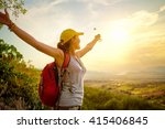 happy traveler with backpack... | Shutterstock . vector #415406845