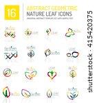 geometric leaf icon set. thin...   Shutterstock .eps vector #415420375