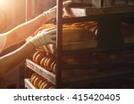 hand touching shelves with... | Shutterstock . vector #415420405