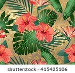 tropical flowers and leaves on... | Shutterstock .eps vector #415425106