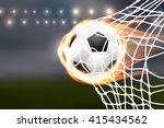 flying burning soccer balloon... | Shutterstock .eps vector #415434562
