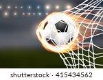 flying burning soccer balloon... | Shutterstock .eps vector #415434562