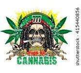 grunge skull with cannabis leaf ...