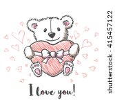love card with hand drawn cute... | Shutterstock .eps vector #415457122