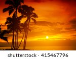 tropical sunset | Shutterstock . vector #415467796