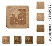 set of carved wooden puzzle...