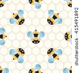 bees on a honeycomb. cute... | Shutterstock .eps vector #415491892