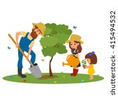 man and the children plant... | Shutterstock .eps vector #415494532