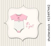 it's a girl  baby shower  retro ... | Shutterstock .eps vector #415497442