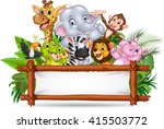 african animals with blank sign | Shutterstock .eps vector #415503772