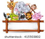 african animals with blank sign | Shutterstock .eps vector #415503802