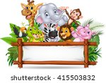 african animals with blank sign | Shutterstock . vector #415503832