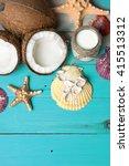 fresh coconuts  coconut oil in... | Shutterstock . vector #415513312