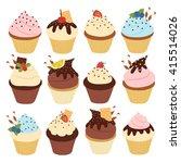 big set with twelve cute simple ... | Shutterstock .eps vector #415514026