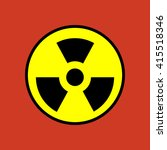 nuclear danger icon on the red... | Shutterstock . vector #415518346