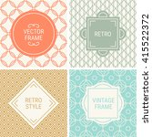 set of vintage frames in orange ... | Shutterstock .eps vector #415522372
