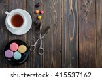 colorful macaroons with tea on...   Shutterstock . vector #415537162