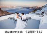 santorini wedding  | Shutterstock . vector #415554562