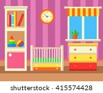 baby room with furniture. flat... | Shutterstock .eps vector #415574428
