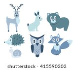 cute animals of the forest owl  ... | Shutterstock .eps vector #415590202