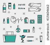 medicine icons pharmacy... | Shutterstock .eps vector #415604662