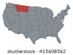 map   united states  montana | Shutterstock . vector #415608562