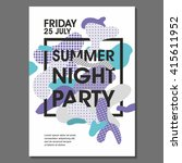 summer night party vector flyer ... | Shutterstock .eps vector #415611952