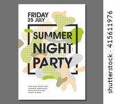 summer night party vector flyer ... | Shutterstock .eps vector #415611976